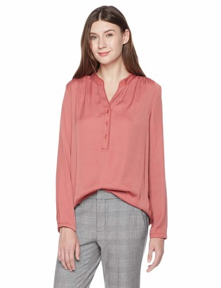 A.Dasher Women Chiffon Blouse Shirt with V-Neck Long Sleeve and Button Down Pink L