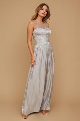 Little Mistress Grace Bridesmaid Grey Embellishment Sweetheart Maxi Dress