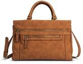 Merona Women's Faux Leather Solid Satchel Handbag with Zipper Pockets