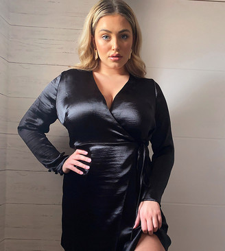 ASOS DESIGN Curve wrap mini dress in high shine satin