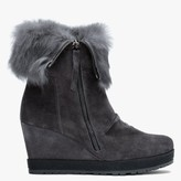 Daniel Grateful Grey Suede Fur Cuff Wedge Ankle Boots