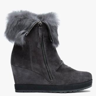 Daniel Grateful Grey Suede Fur Cuff Wedge Ankle Boots