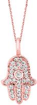 Morris & David Gold and Diamond Hamsa Pendant Necklace