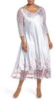 Komarov Plus Size Women's Print Lace & Charmeuse V-Neck Dress
