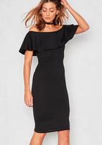Missy Empire Desyre Black Ribbed Ruffle Midi Bodycon Dress