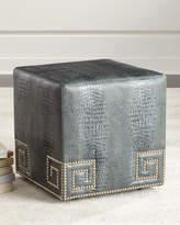 Massoud Chantal Leather Ottoman, Blue