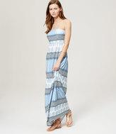 LOFT Petite Beach Sunburst Stripe Strapless Maxi Dress