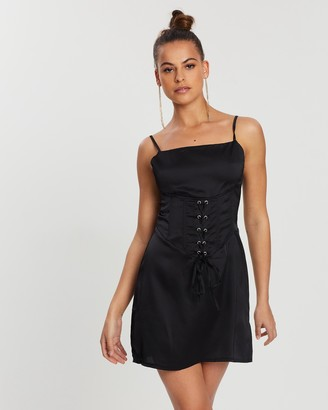 Missguided Cami Corset Waist Satin Dress