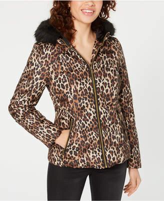 Celebrity Pink Juniors' Leopard-Print Puffer Coat with Faux Fur Trim Hood