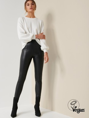 Forever New Tonya Faux Leather High-Waist Pants - Black - 8