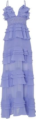 True Decadence Corn Flower Blue Plunge Front Tiered Ruffle Maxi Dress