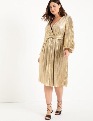 ELOQUII Full Sleeve Pleated Metallic Midi Dress
