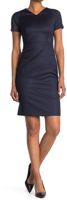 HUGO BOSS Deitua Solid Short Sleeve Wool Sheath Dress
