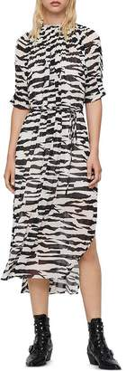 AllSaints Xena Zephyr Pleated Midi Dress