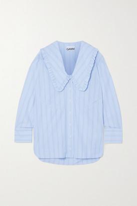 Ganni Ruffled Striped Organic Cotton Shirt - Light blue