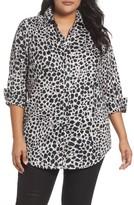 Foxcroft Plus Size Women's Fay Animal Print Cotton Tunic Shirt