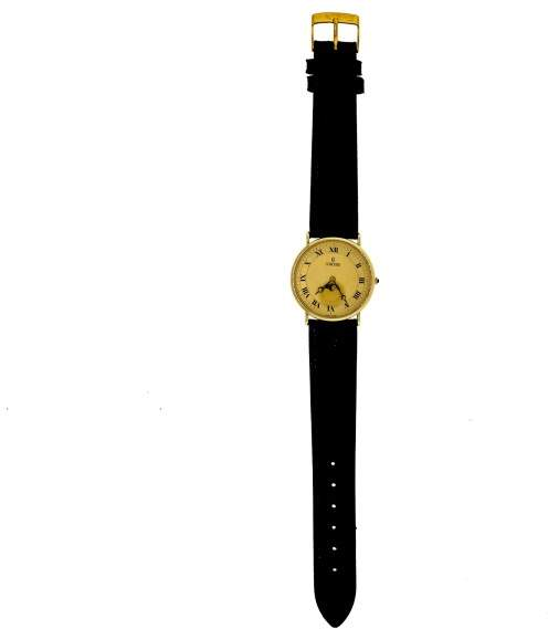 Concord Moonphase 14K Yellow Gold & Leather Quartz 30mm Womens Watch