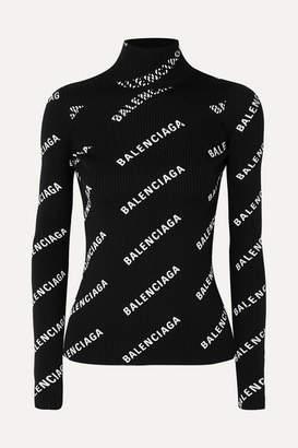 Balenciaga Open-back Printed Ribbed-knit Turtleneck Top - Black