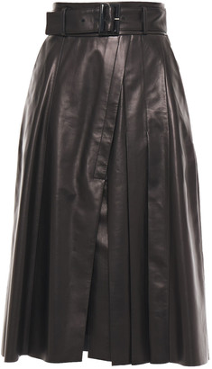 Drome Belted Leather Midi Skirt
