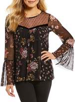 Jolt Floral Twin-Printed Mesh Bell Sleeve Top