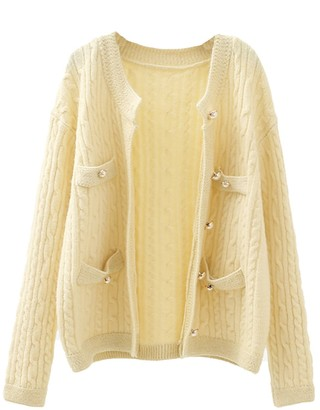 Goodnight Macaroon 'Juliette' Pearl Button Cable Knit Button Down Cardigan (3 Colors)