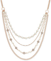 Charter Club Rose Gold-Tone Imitation Pearl and Crystal Fireball Multi-Layer Necklace, Only at Macy's