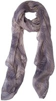 Ashley Ashoff Plumes Grey Silk Chiffon Scarf