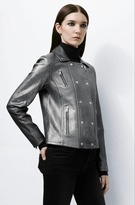 J Brand Valo Leather Jacket in Silver