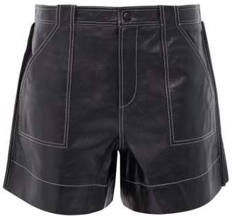 Ganni Topstitched Leather Shorts - Womens - Black