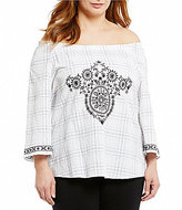 Westbound Plus Off-the-Shoulder Pullover Peasant Top