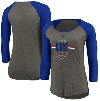 Under Armour Women's Heathered Gray/Royal Chicago Cubs Tri-Blend Raglan 3/4-Sleeve Performance T-Shirt
