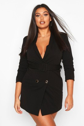 boohoo Plus Double Breasted Gold Button Blazer Dress