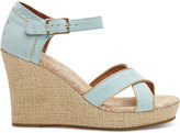 Toms Light Blue Suede Gold Trim Women's Strappy Wedges
