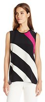 Vince Camuto Women's Short Sleeve Contour Glide Panel Mix Media Top