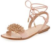 Aquazzura Monaco Suede Crystal Sandal, Pink, Youth