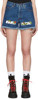 Off-White Indigo Denim Roses Shorts