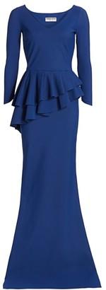 Chiara Boni Zosia Tier Peplum-Waist Column Gown