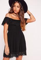 Missguided Petite Crochet Trim Crinkle Bardot Mini Dress Black