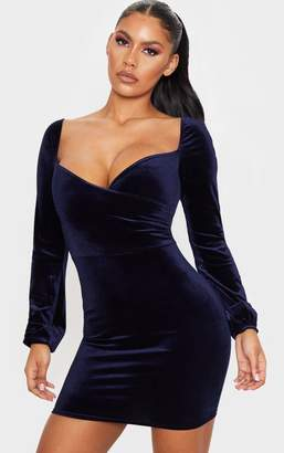 PrettyLittleThing Navy Velvet Long Sleeve Wrap Over Front Bodycon Dress