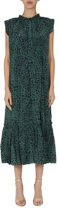 Zimmermann Leopard Print Frill Midi Dress