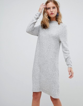 Only brushed knitted mini jumper dress in grey