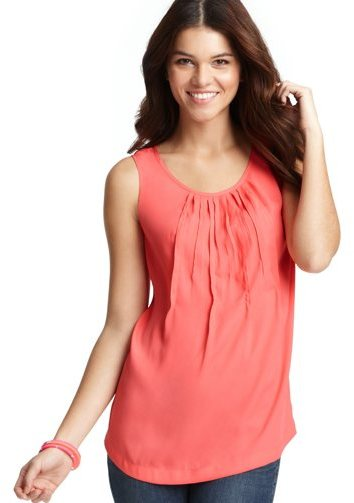 LOFT Petite Pleated Front Shell
