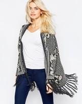 La Fee Verte Printed Oversize Knit Cardigan with Tassles
