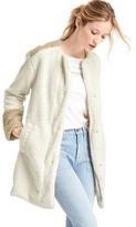 Gap Cozy sherpa collarless coat
