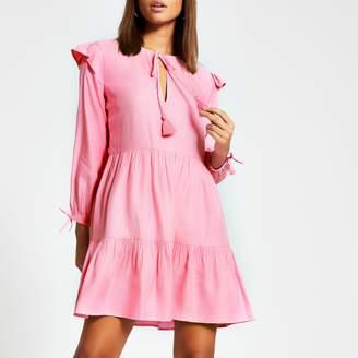 River Island Womens Pink long sleeve tie neck mini smock dress