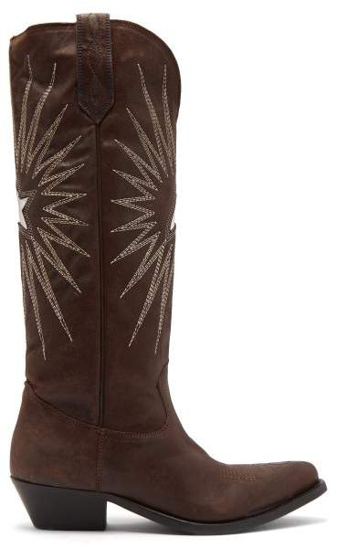 Golden Goose Wish Star Embroidered Leather Boots - Womens - Dark Brown