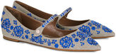 Tabitha Simmons Natural Embroidered Hermione Flats