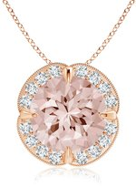 Angara.com Claw Set Morganite Clover Necklace Pendant with Diamond Halo in 14K Rose Gold (9mm Morganite)