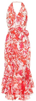 Roberto Cavalli Floral-printed silk midi dress
