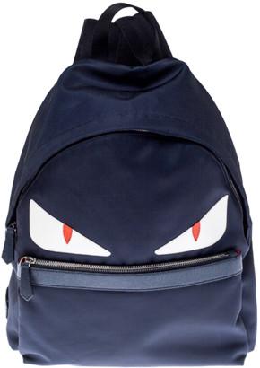 Fendi Navy Blue Nylon and Leather Bugs Backpack